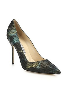 Manolo Blahnik BB 105 Iridescent Snakeskin Pumps