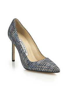 Manolo Blahnik BB 105 Metallic-Striped Leather Pumps