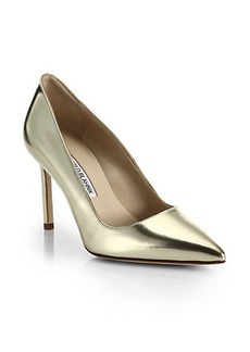 Manolo Blahnik BB 90 Metallic Leather Pumps