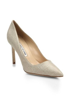Manolo Blahnik BB 90 Metallic Linen Pumps