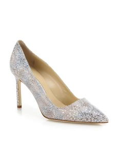 Manolo Blahnik BB 90 Metallic-Speck Leather Pumps