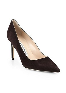 Manolo Blahnik BB 90 Suede Point-Toe Pumps