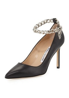 Manolo Blahnik BB Chain 90mm Leather Pump, Black
