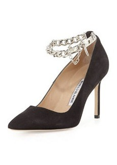 Manolo Blahnik BB Chain 90mm Suede Pump, Gray