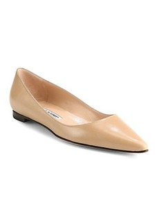 Manolo Blahnik BB Leather Ballet Flats