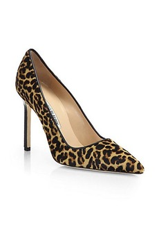 Manolo Blahnik BB Leopard-Print Calf Hair Pumps