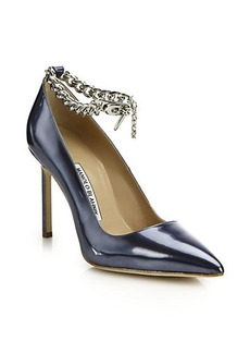 Manolo Blahnik BB Metallic Patent Leather & Chain Ankle-Strap Pumps