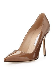 Manolo Blahnik BB Metallic Patent Leather Pointy Toe Pump, Bronze