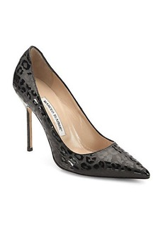 Manolo Blahnik BB Patent Leather Leopard-Print Pumps