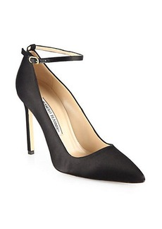 Manolo Blahnik BB Satin Ankle-Strap Pumps