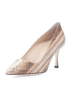 Manolo Blahnik BB Snake Mid-Heel Pump, Beige/Brown