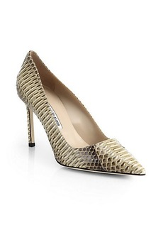 Manolo Blahnik BB Snakeskin Point-Toe Pumps