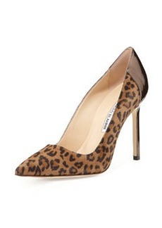 Manolo Blahnik BB Suede Point-Toe Pump, Leopard
