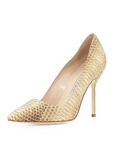 Manolo Blahnik BB Watersnake 105mm Pump, Neutral