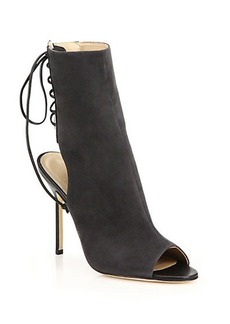 Manolo Blahnik Bellanto Suede Lace-Back Open-Toe Ankle Boots