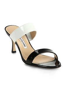 Manolo Blahnik Bicolor Patent Leather Double-Banded Sandals