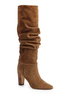 Manolo Blahnik Brunchile Suede Scrunched Knee-High Boots