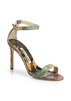 Manolo Blahnik Camo Snakeskin Sandals