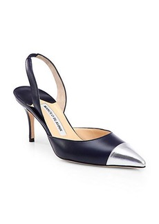 Manolo Blahnik Carolyne Leather & Metallic Cap-Toe Slingback Pumps