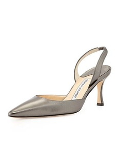 Manolo Blahnik Carolyne Metallic Low-Heel Halter Pump