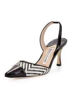 Manolo Blahnik Carolyne Patent-Toe Woven Mid-Heel Pump