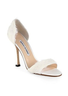 Manolo Blahnik Catalina D'Orsay Satin & Feather Pumps