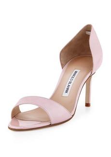 Manolo Blahnik Catalina Metallic d'Orsay Sandal, Pink