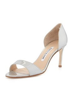 Manolo Blahnik Catalina Patent d'Orsay Pump, Silver