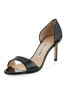 Manolo Blahnik Catalina Patent Peep-Toe d'Orsay, Black