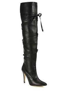 Manolo Blahnik Cavaba Lace-Up Leather Over-The-Knee Boots