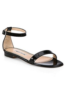 Manolo Blahnik Chafla Patent Leather Ankle-Strap Sandals