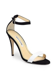 Manolo Blahnik Chaos Bicolor Leather & Suede Ankle-Strap Sandals