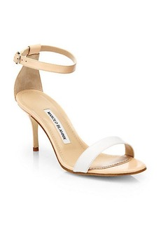 Manolo Blahnik Chaos Bicolor Leather Ankle-Strap Sandals