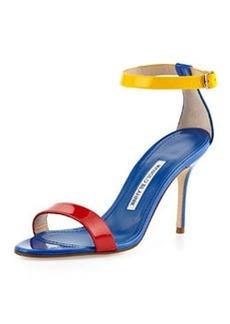 Manolo Blahnik Chaos Colorblock Patent Ankle-Strap Sandal, Blue