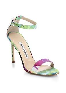 Manolo Blahnik Chaos Floral Satin Ankle-Strap Sandals