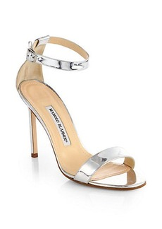 Manolo Blahnik Chaos Holo Metallic Leather Ankle-Strap Sandals