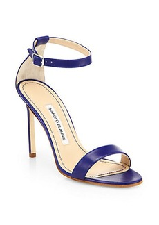 Manolo Blahnik Chaos Leather Ankle-Strap Sandals