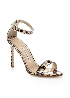 Manolo Blahnik Chaos Leopard-Print Patent Leather Ankle-Strap Sandals