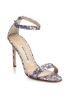 Manolo Blahnik Chaos Liberty Print Ankle-Strap Sandals