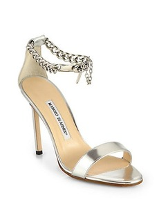 Manolo Blahnik Chaos Metallic Leather Ankle-Chain Sandals