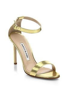Manolo Blahnik Chaos Metallic Leather Ankle-Strap Sandals