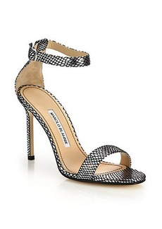 Manolo Blahnik Chaos Metallic Mesh-Print Leather Sandals
