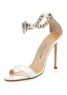 Manolo Blahnik Chaos Patent Chain-Wrap Sandal, White