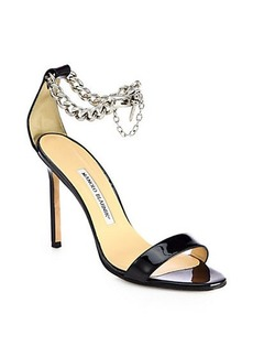 Manolo Blahnik Chaos Patent Leather Ankle-Chain Sandals