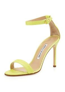Manolo Blahnik Chaos Snakeskin Ankle-Strap Sandal, Lime