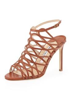 Manolo Blahnik Coddilla Leather Slingback Sandal, Cognac