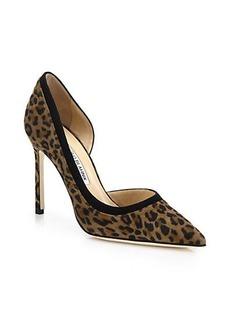 Manolo Blahnik Colette Leopard-Print Suede Half D'Orsay Pumps