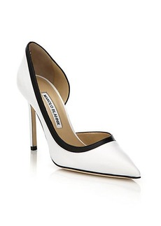 Manolo Blahnik Collette Two-Tone Leather Pumps