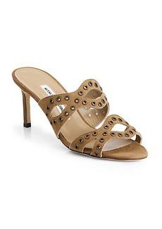 Manolo Blahnik Cridamu Suede Grommet Sandals