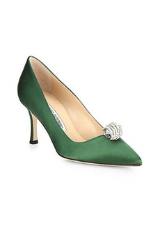 Manolo Blahnik Crystal-Embellished Satin Evening Pumps